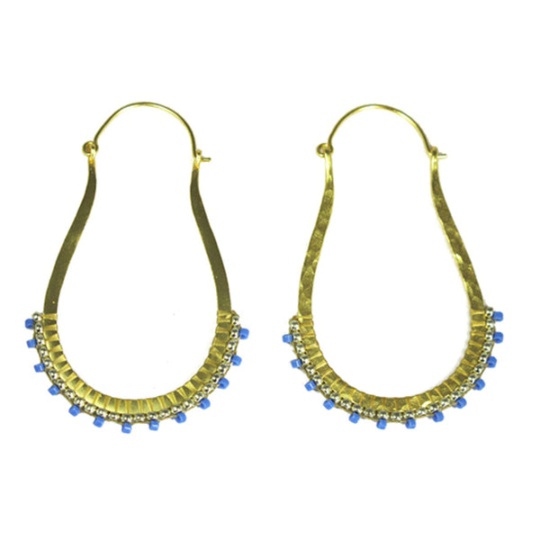 Blue Beaded Abstract Earrings