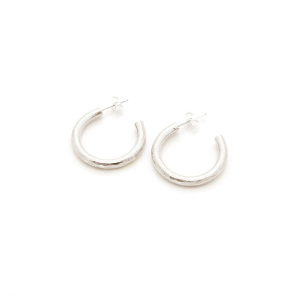 Scratched Hoop Earrings | Silver