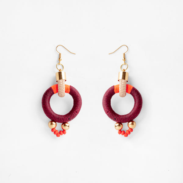 Alpha Earrings Maroon Orange