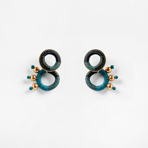 Dragon Earrings Black Teal