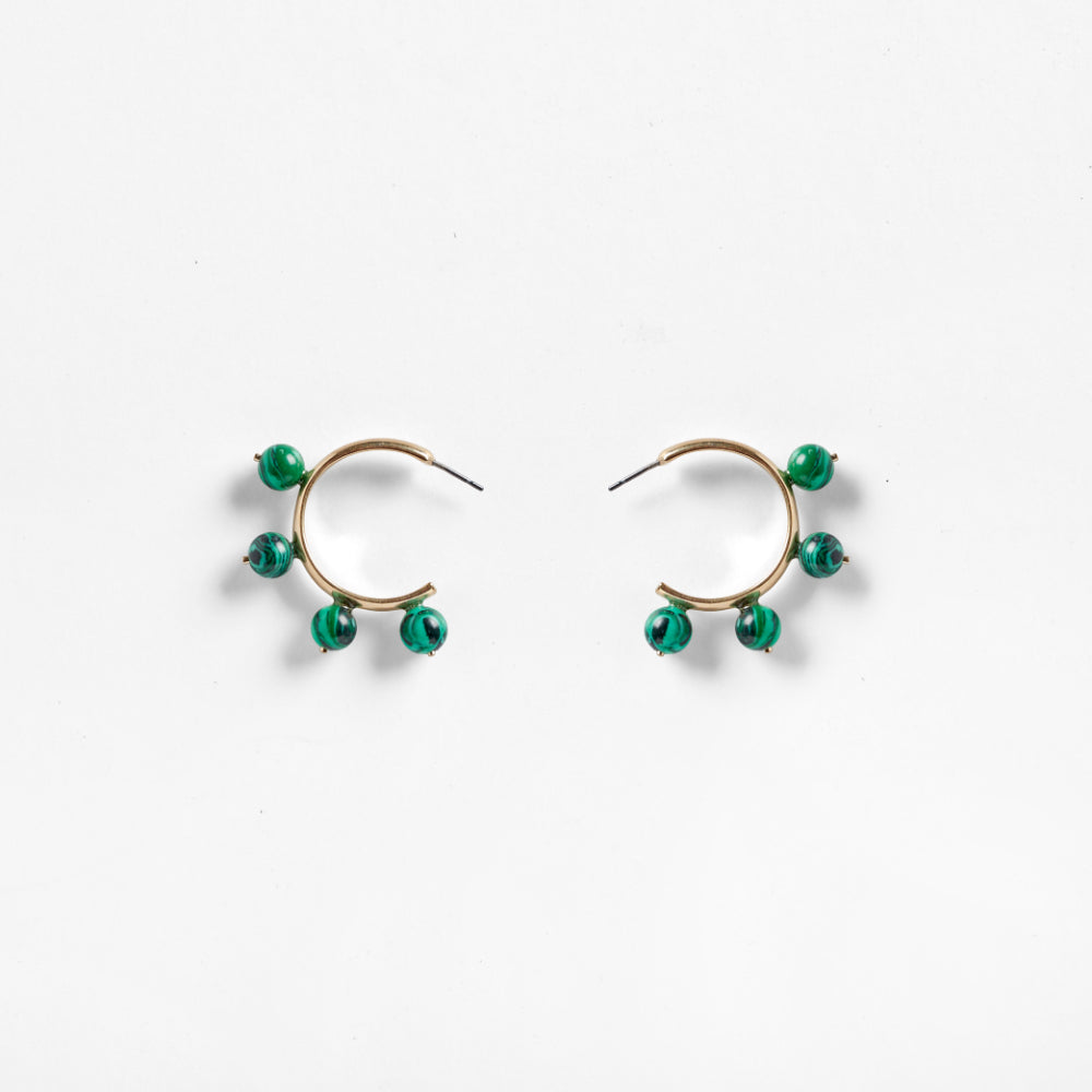 Garland Hoop earrings| Malachite