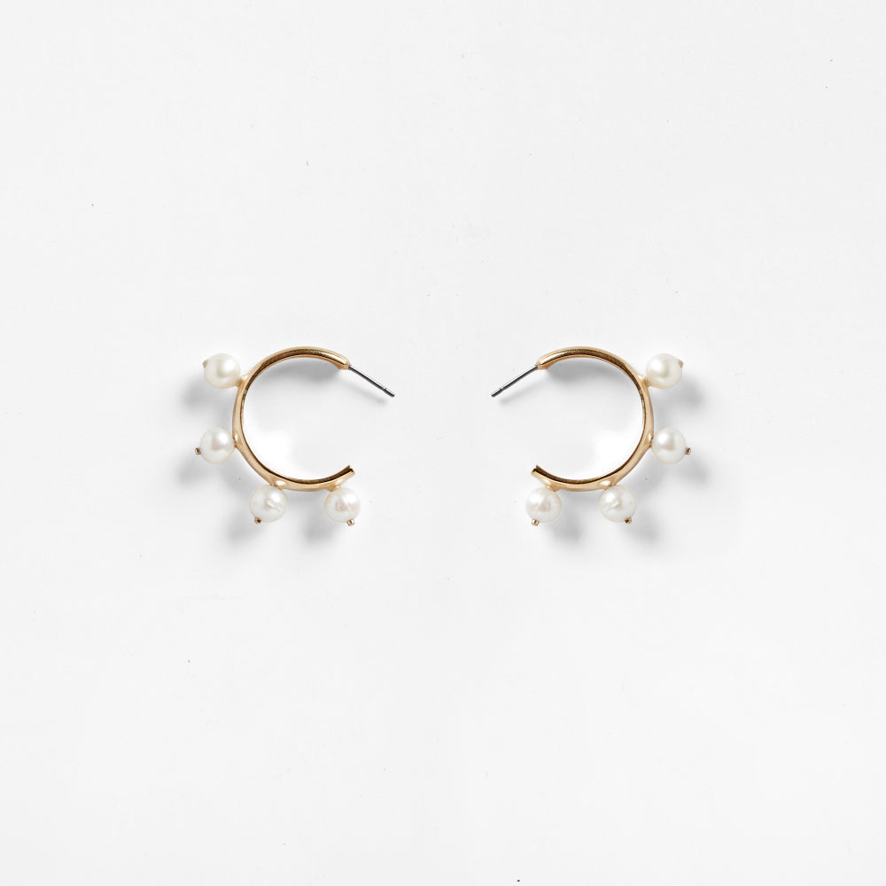 Garland Hoop Earrings Pearl