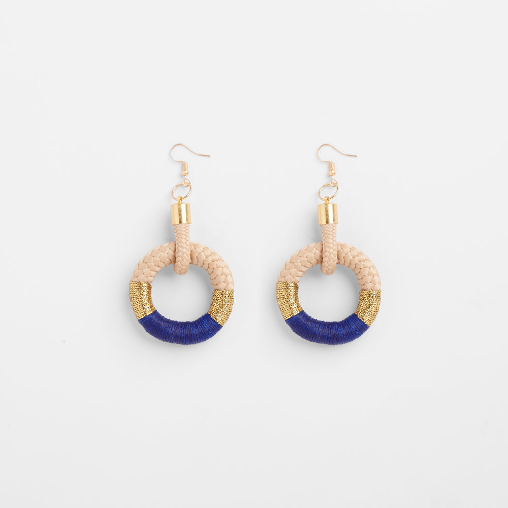 Hoop Earrings | Beige Blue