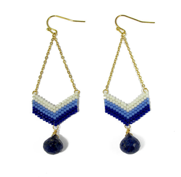 Navy Blue Beaded Earrings With Lapis Lazuli