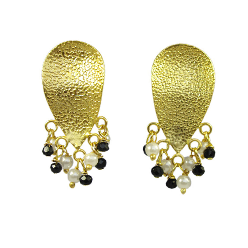 Textured Petal Earrings With Pearls