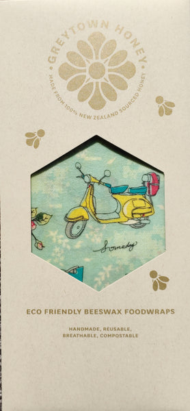 Scooter & Bicycle Beeswax Foodwraps - Sandwich Size - 2 Pack
