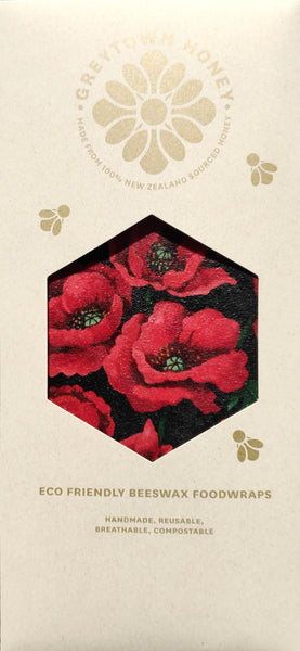 Red Poppy Print - Beeswax Foodwraps - Sandwich Size - 2 Pack