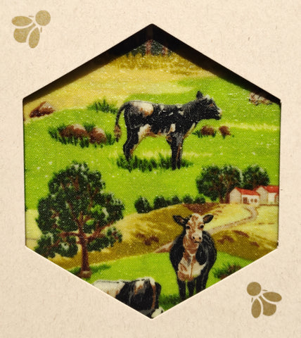 Cow Farming Print - Beeswax Foodwraps - Sandwich Size - 2 Pack
