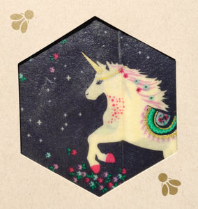 Unicorn Print - Beeswax Foodwraps - Sandwich Size - 2 Pack