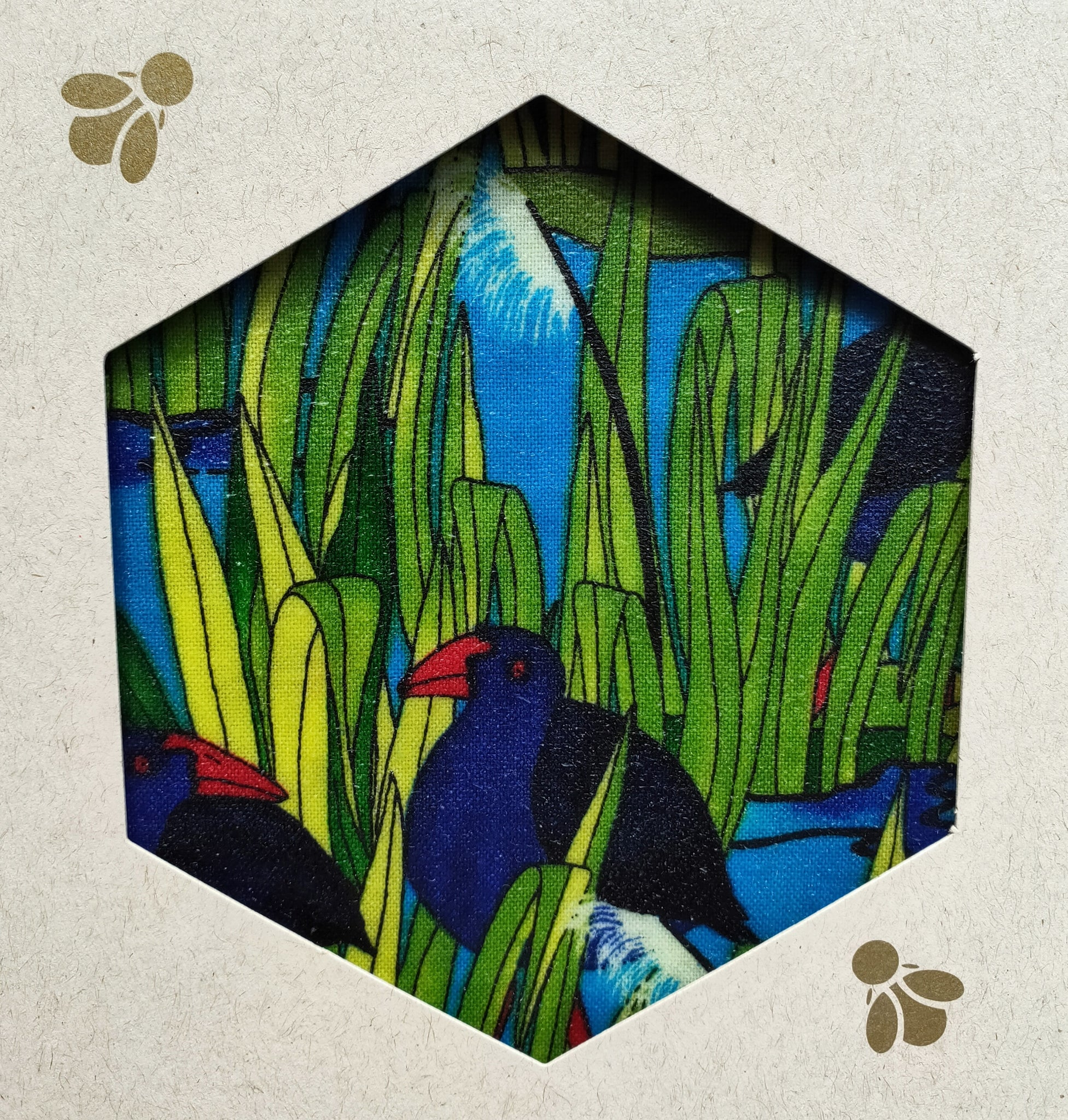 Pukeko & Flax Print -  Beeswax Foodwraps - Sandwich Size - 2 Pack