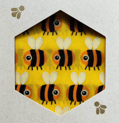 Bee Print - Beeswax Foodwraps - Sandwich Size - 2 Pack