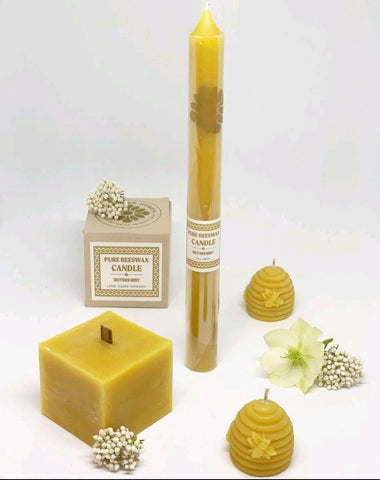Pure Beeswax Candle - Round Taper - Short
