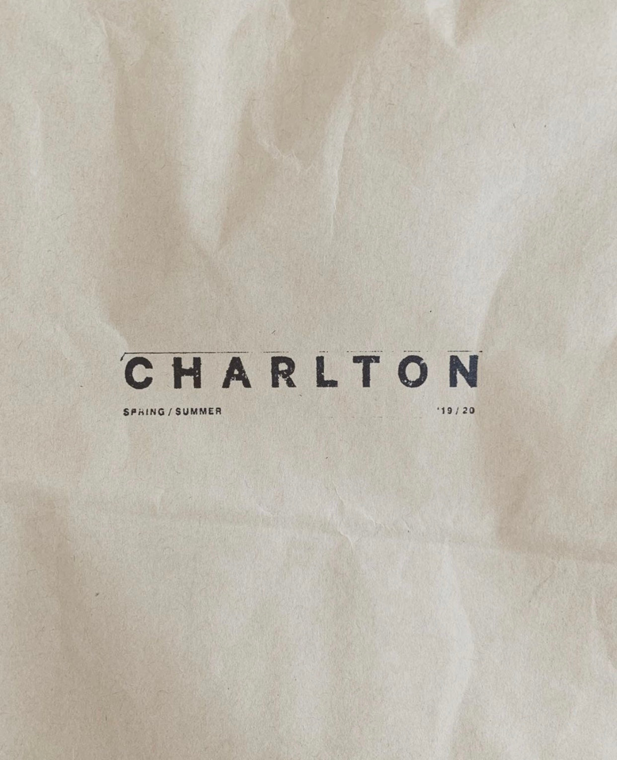 Charlton Packaging, Brown Paper / Black ink stamp.