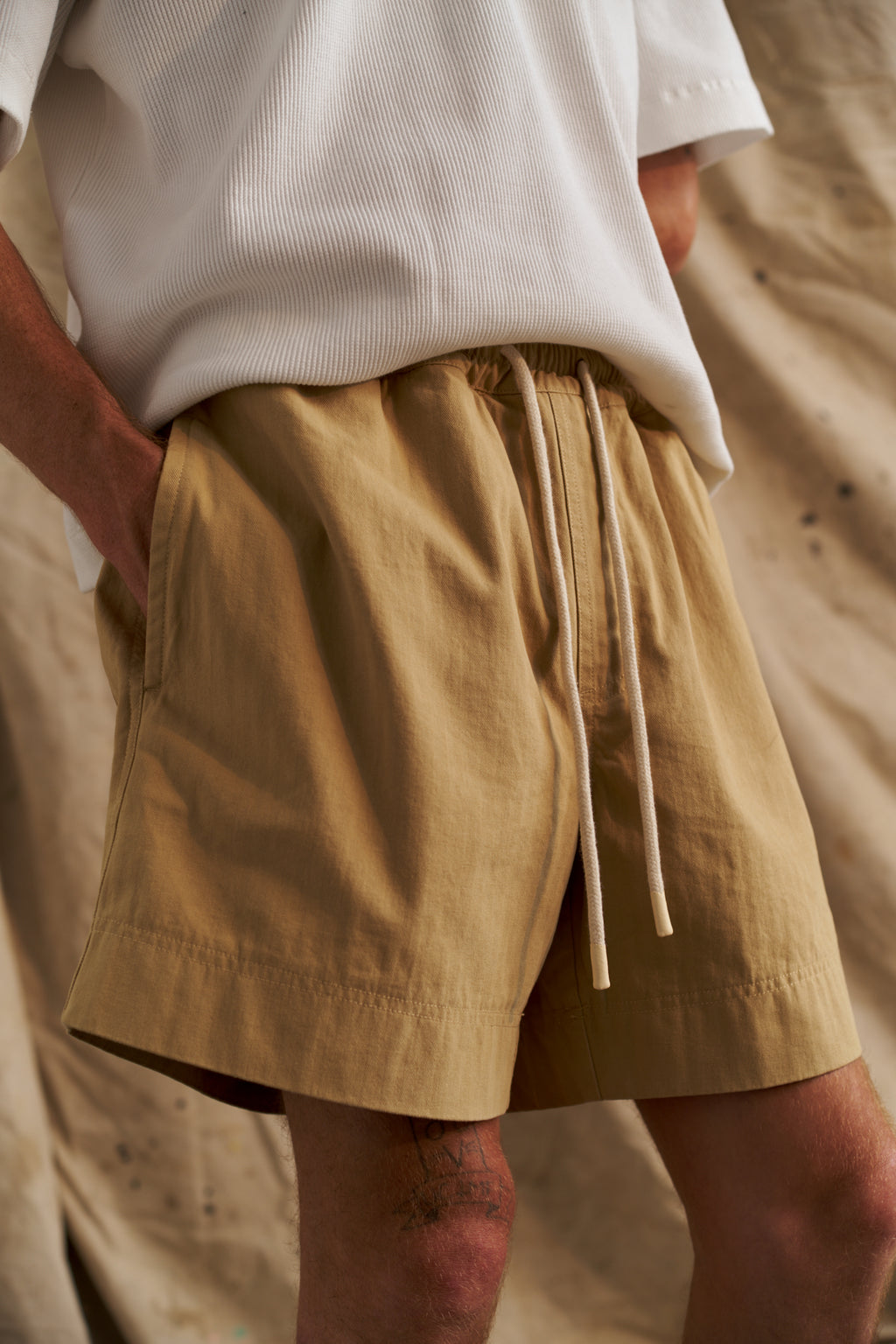 Tan Japanese Herringbone Short