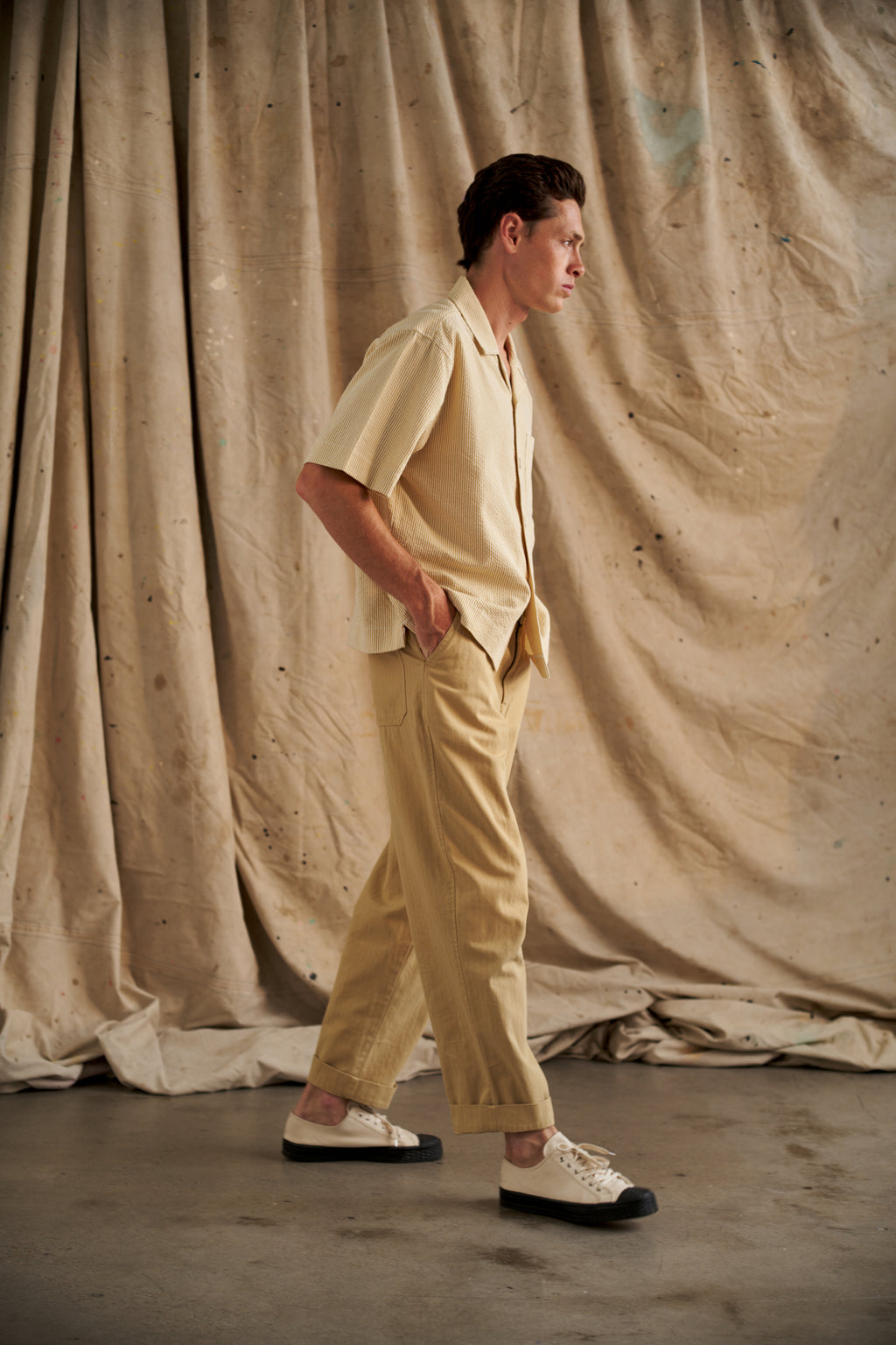 Tan Japanese Herringbone Pant