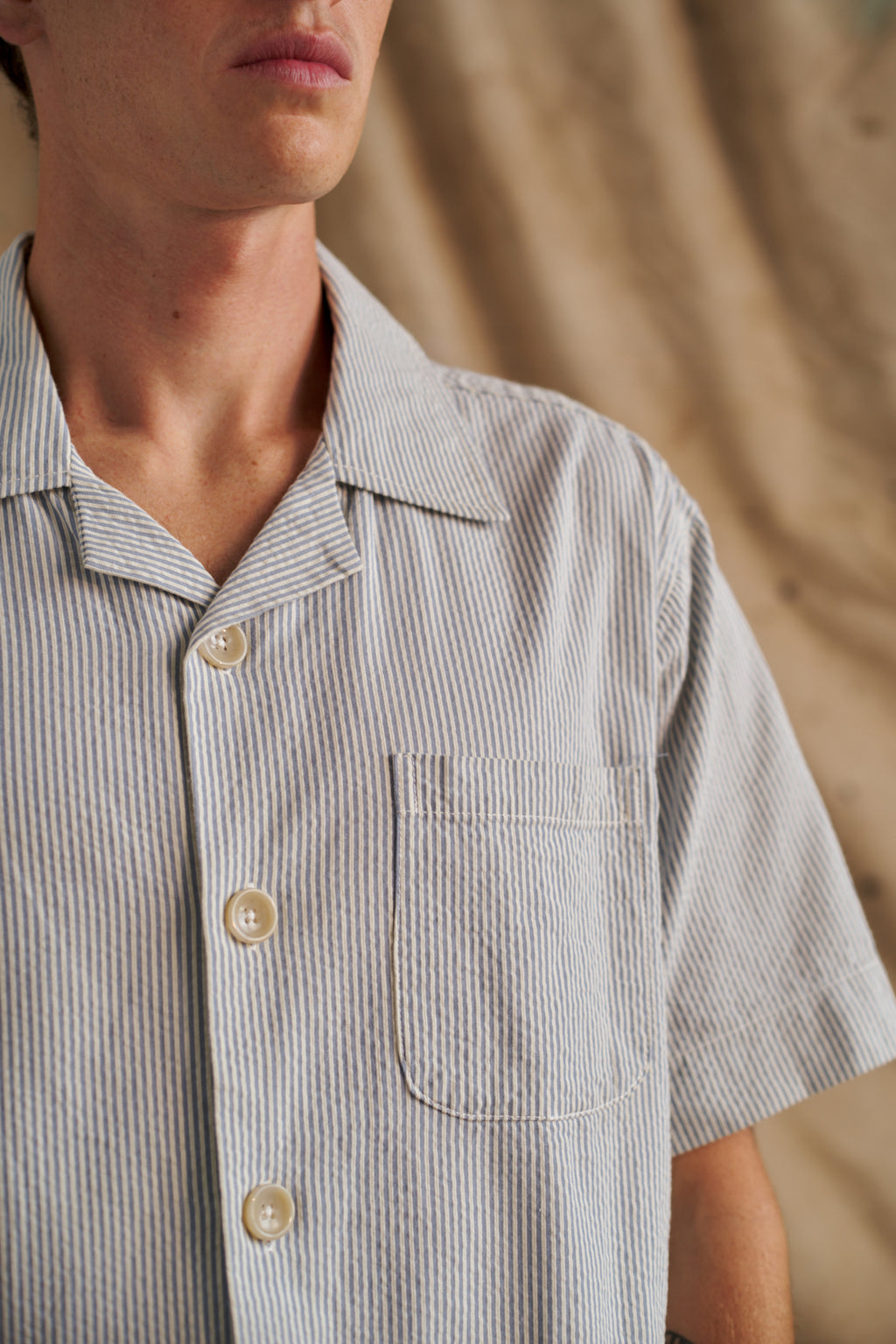 Powder Blue Japanese Seersucker Shirt