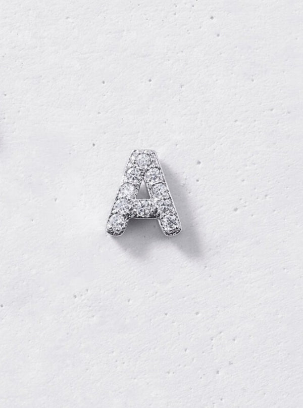 Initial Stud Earring (Single) - 925 Sterling Silver