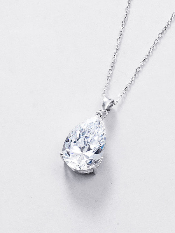 Pear-cut Pendant Necklace - 925 Sterling Silver