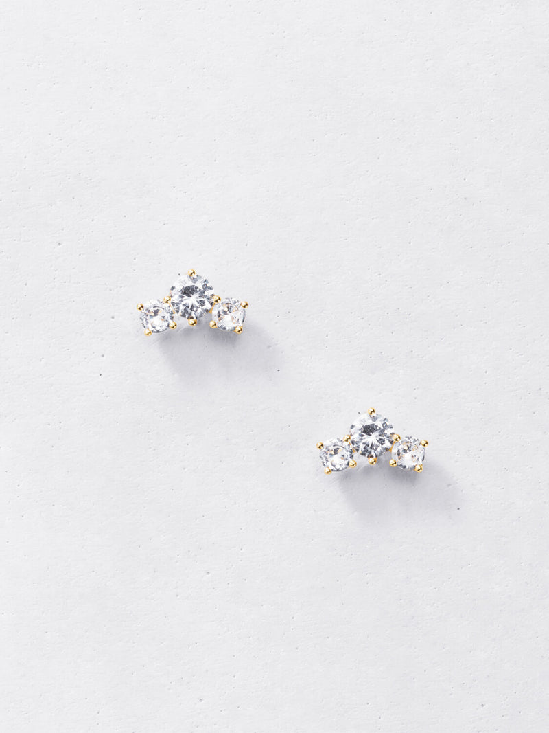 Dainty Trio Climber Stud Earrings - 925 Sterling Silver