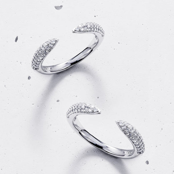Claw Ring Set (2 pieces) - 925 Sterling Silver