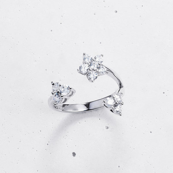 Casia Flower Open Ring - 925 Sterling Silver