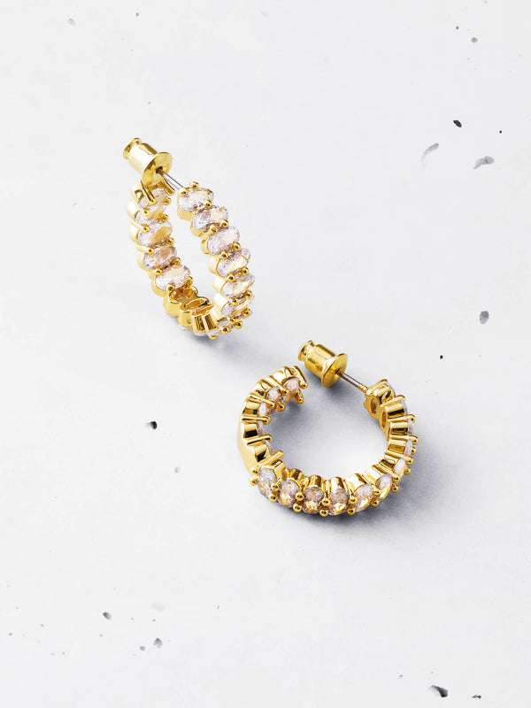Oval Cut Hoop Earrings