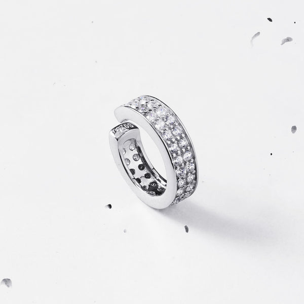 Double Row Pave Ear Cuff - 925 Sterling Silver