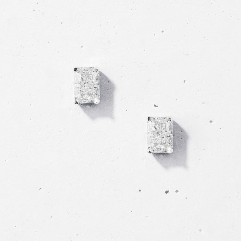 Crushed Ice Rectangular Stud Earrings - 925 Sterling Silver