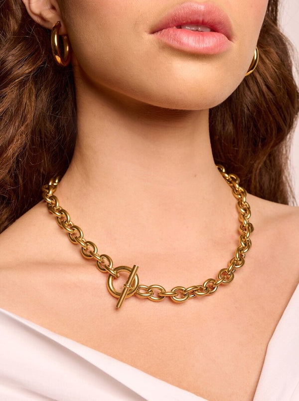 Chunky Chain T-bar Choker Necklace
