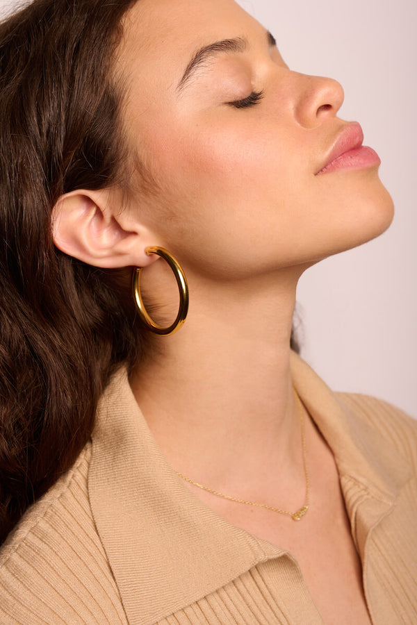 Large Classic tube hoop earrings