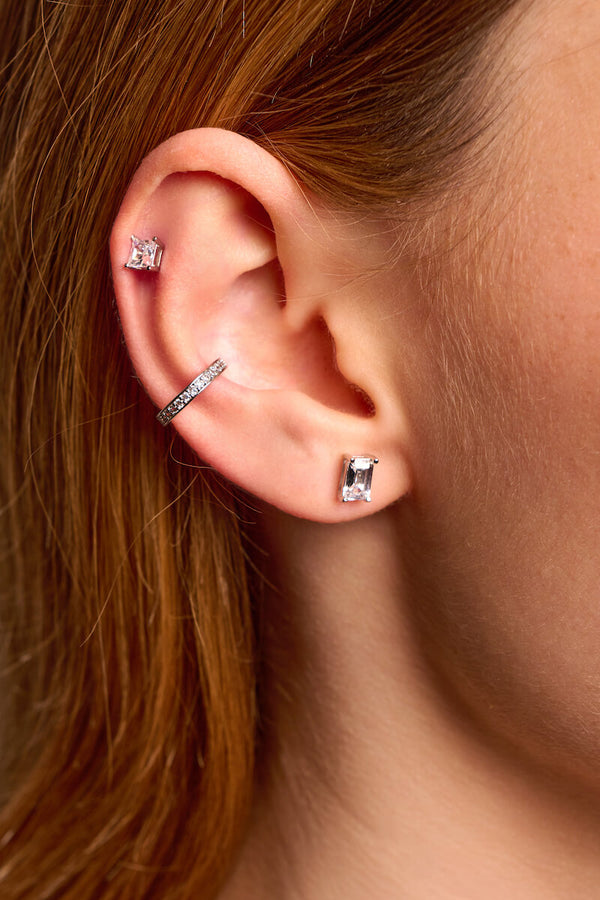 Emerald Cut Studs - 925 Sterling Silver (Pair)