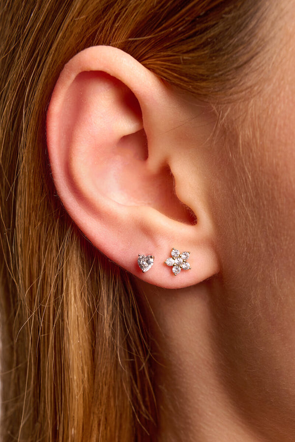 Dainty Flower Stud Earrings - 925 Sterling Silver