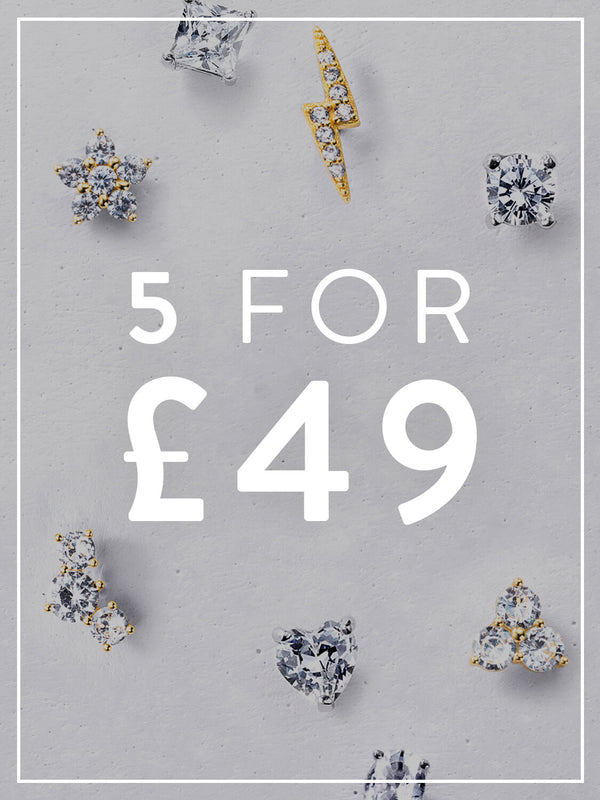 ANY 5 DAINTY STUDS FOR £49
