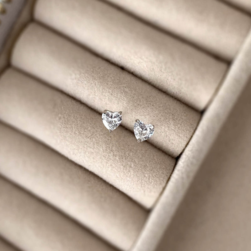 Dainty Heart Stud Earrings - 925 Sterling Silver