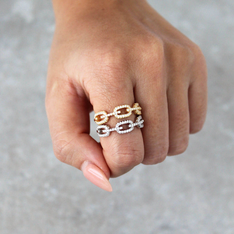 Chain Link Ring - 925 Sterling Silver
