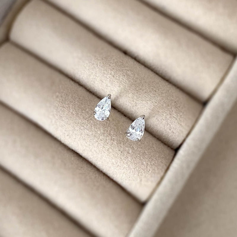 Dainty Pear-cut Stud Earrings - 925 Sterling Silver