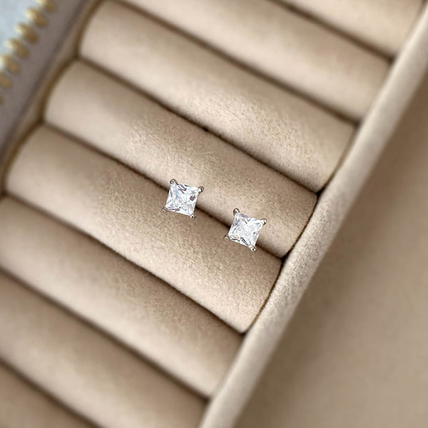 Dainty Square Stud Earrings - 925 Sterling Silver