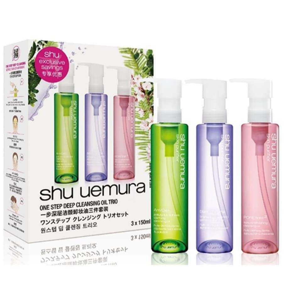 SHU UEMURA ANTI OXI AND POREFINIST AND BLANC CHROMA CLEANSING OIL TRIO