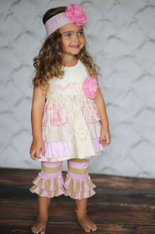 girls darling outfit with pink and cream