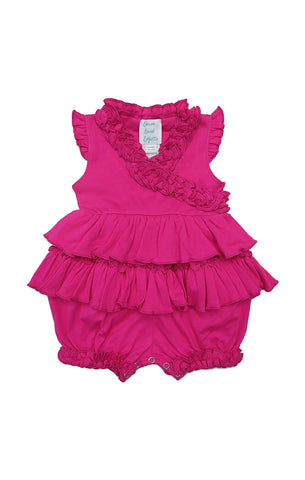 Lemon Loves Layette Lotus Romper in dark pink