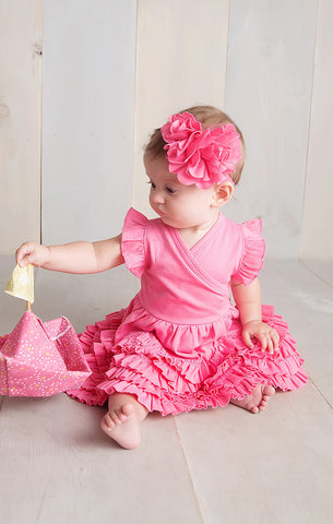 Lemon Loves Layette Mia Dress in Pink Lemonade