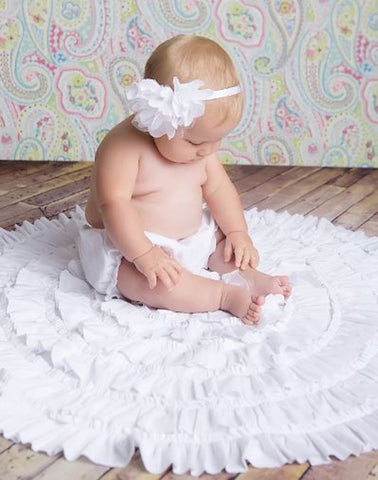 Lemon Loves Layette Rose Headband in White
