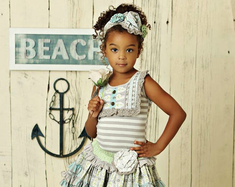 little girls striped top with lace