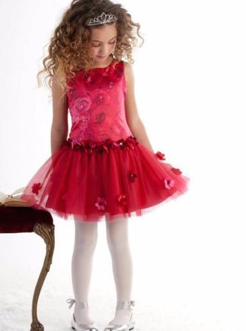 Biscotti Girls red drop waist dress with floral bodice