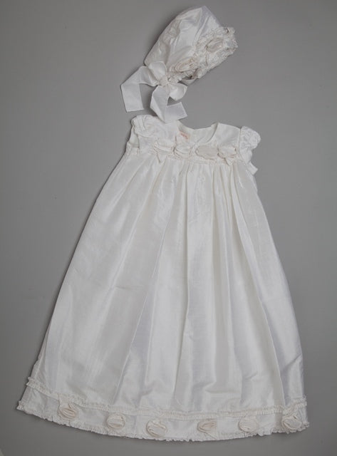 Silk Christening Gown And Bonnet