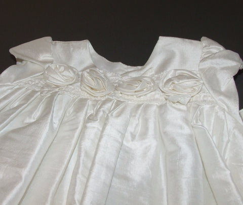 baby girl silk Christening Gown And Bonnet