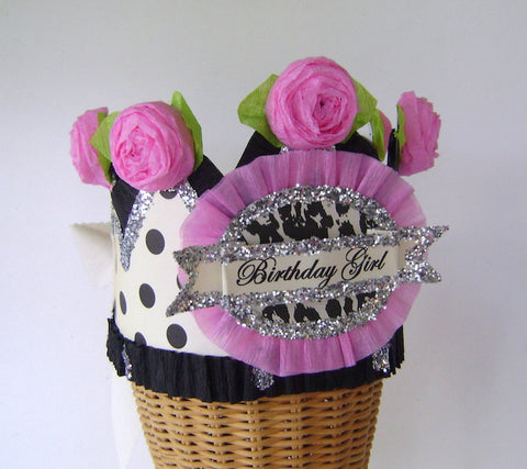 Hats - Birthday Girl Crown With Cheetah And Polkadots