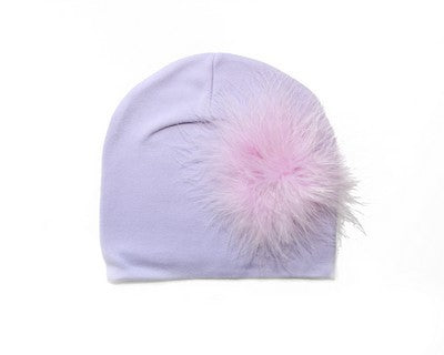 Jamie Rae Hats Lavendar Cotton Hat With Lavender Marabou