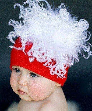 Hats - Jamie Rae Hats Red Cotton With White Curly Marabou