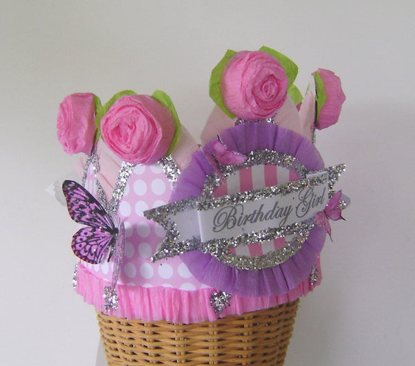 Hats - Pink Birthday Girl Crown With Polkadots